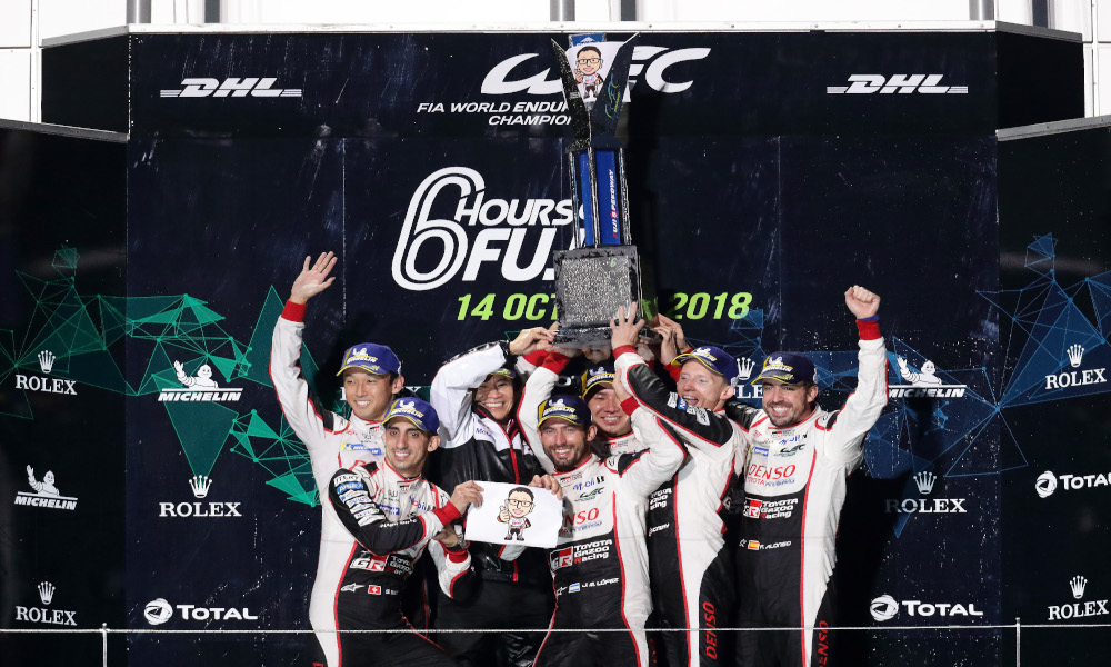 Toyota GAZOO Racing celebrates the one-two result in Japan