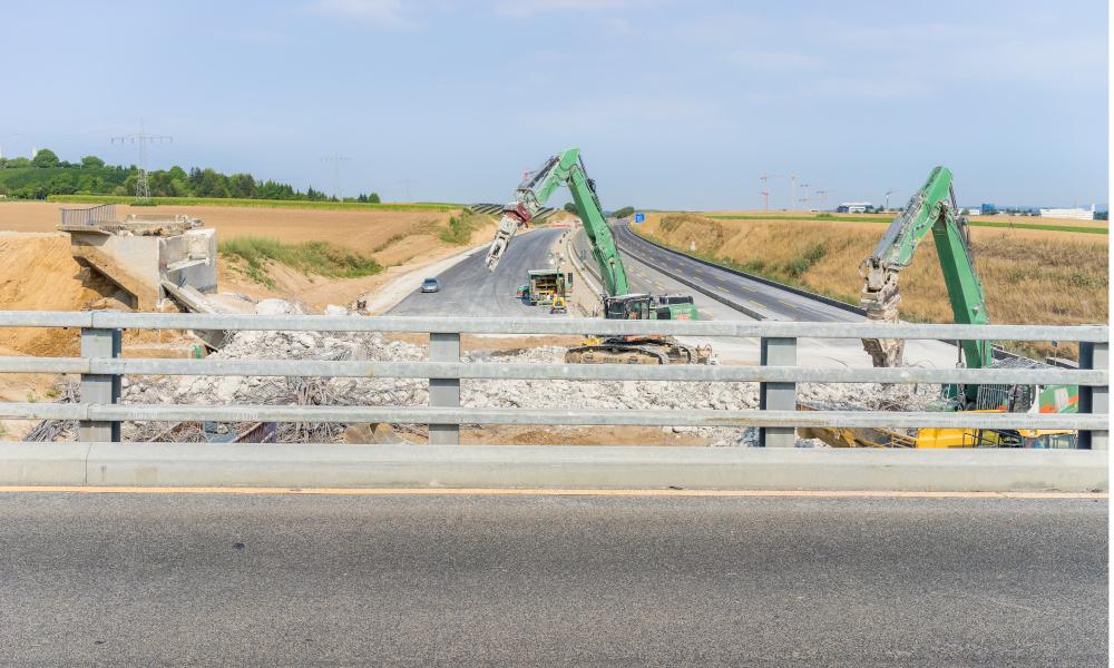 fence bridge widening stock image