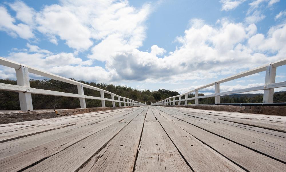 timber bridge stock image
