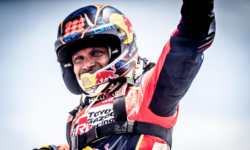 Toyota HiLux driver Nasser Al Attiyah celebrates Dakar victory