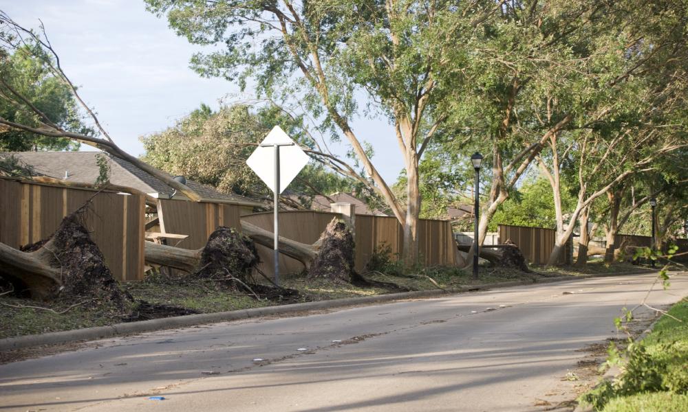 fence storm damage stock image