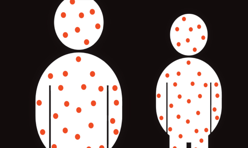Illustration-of-two-white-silhouettes-with-red-dots-representing-measles-on-a-black-background