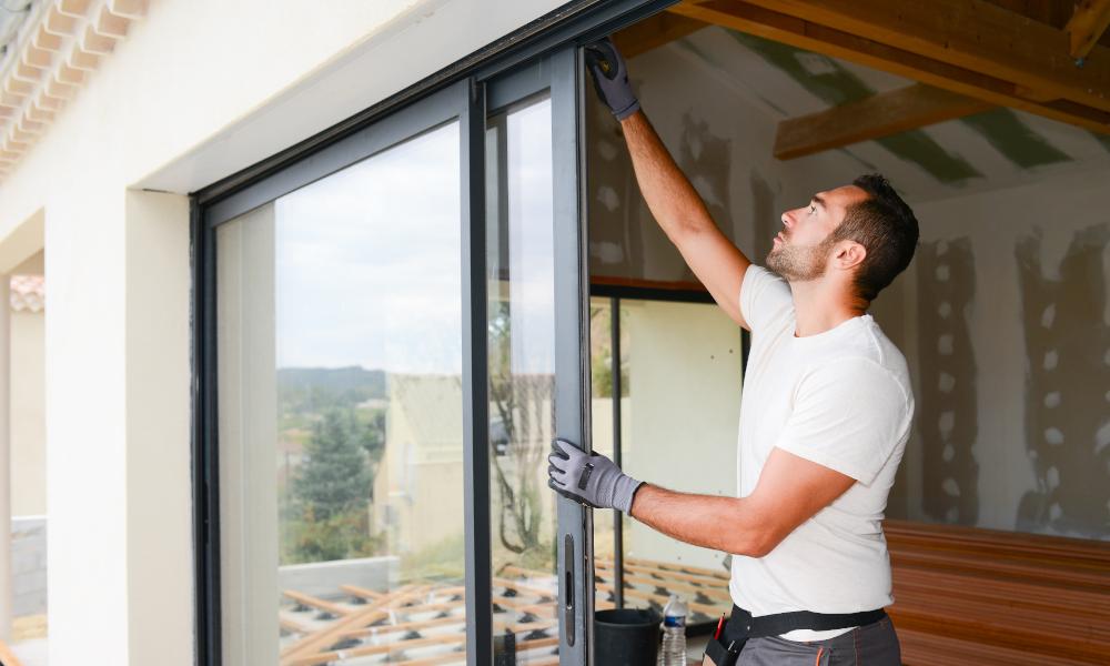 glass door sliding installation stock image