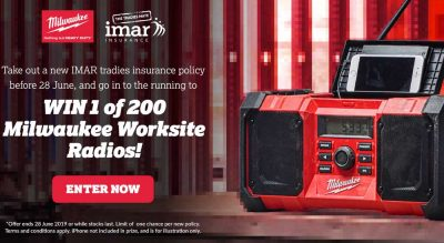 Win A Milwaukee Worksite Radio with IMAR Insurance
