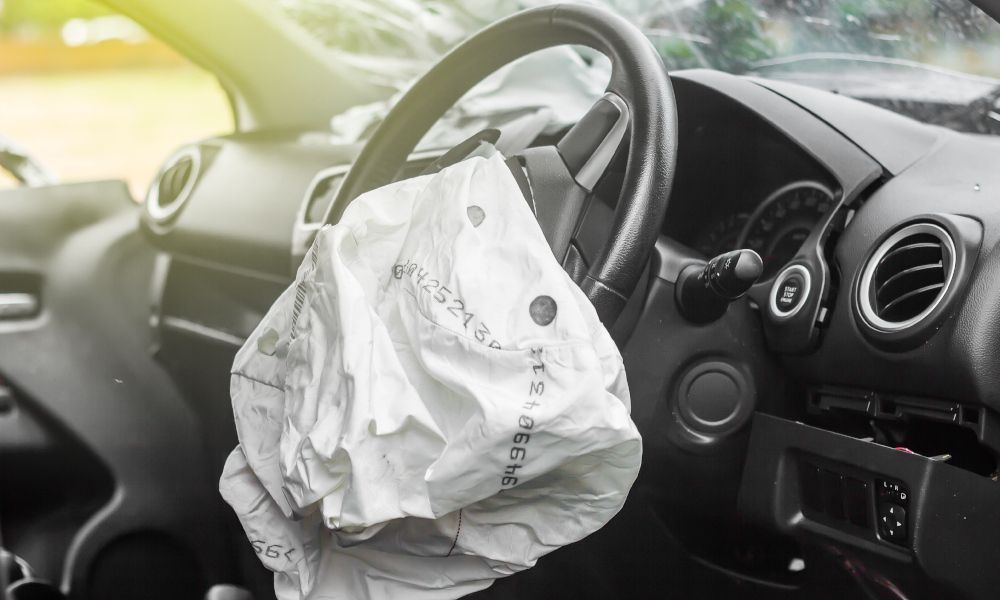 airbag deflated stock image