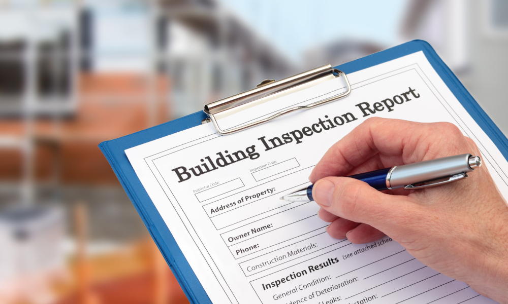 building inspection report stock image